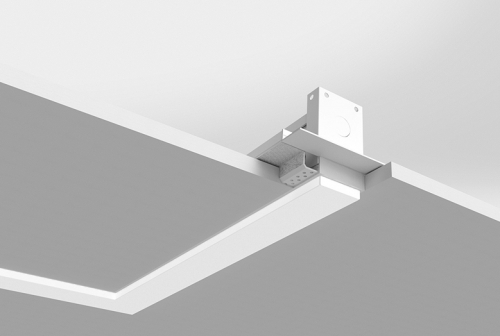 Microlinea Recessed Series 2 Horizontal 90 Degree Corner with .375 Accent/Drop Lens - Spackle Flange