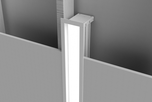 Microlinea Recessed Series 3 - Vertical Wall Overlap Flange with Regress Lens